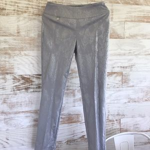 Peck and Peck Silver Party Slip On Pants SZ 4